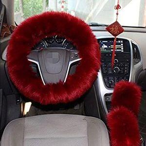 Steering Wheel Cover Faux Wool Set